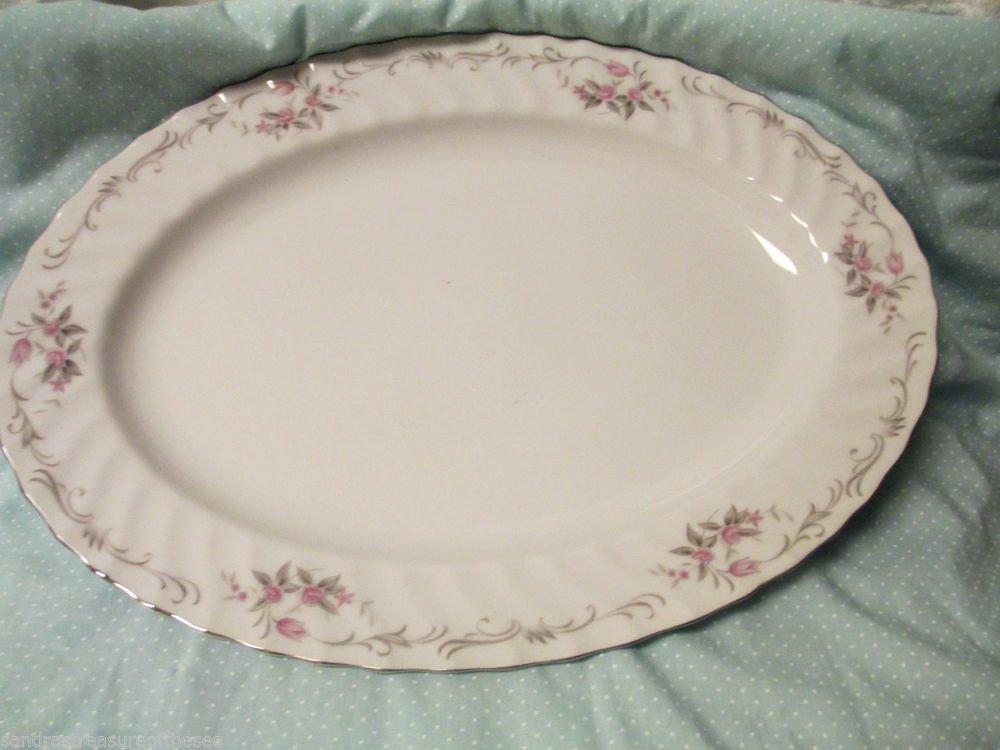 Gold Standard Porcelain China Serving Platter Japan Pink Flower Platinum Trim