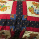 Sweet Teddy Bear Quilt Handmade Two Panel Quilt Different Bears Reversible