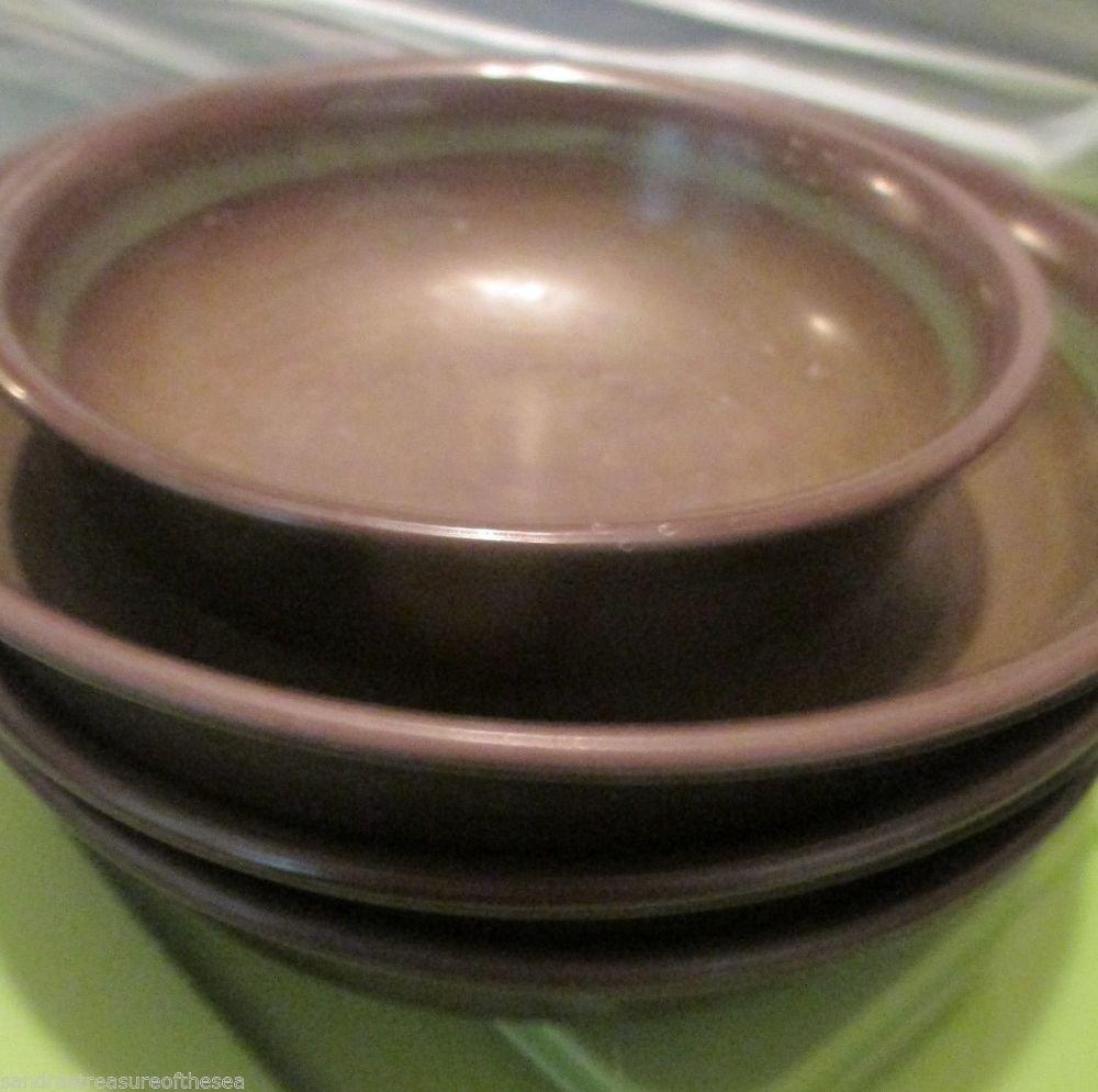 Four Vintage Franciscan Madeira Soup Dessert Bowls Brown Earthenware Tan Floral
