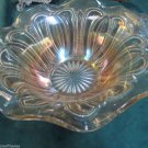 Vintage Beautiful Ruffled Bowl Amber Rose Iridescent Glass Feathered Arrow 1920s