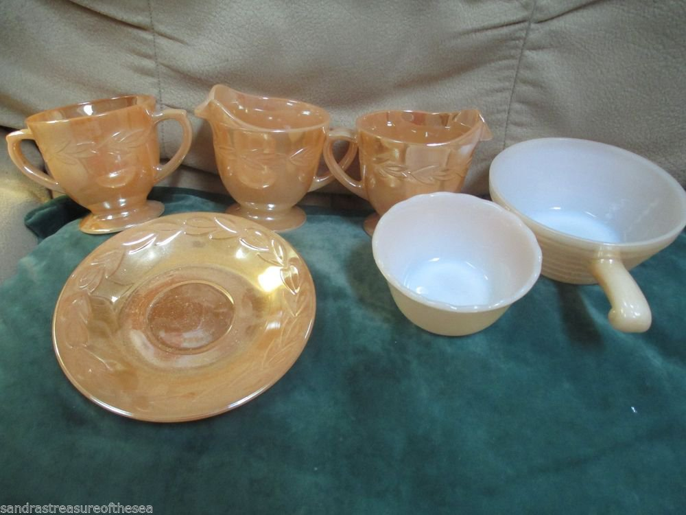 Vintage Fire King Anchor Hocking  Peach Luster Laurel Leaf Cream Sugar Bowls 6pc