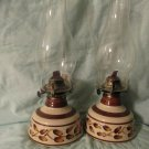 Vintage Pair Lamplight Farms Oil Lamps Ceramic Base White Brown Leaves USA