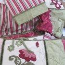 Cute Cocalo Flower Appliqued Nursery Set Bumper Skirt Valance Diaper Stacker