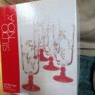 Studio Nova Holly Berry Red Christmas Handpainted Iced Beverage Four Pc Set MIB