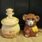 Vintage Pottery Craft USA Honey Pot Teddy Bear W Houston Foods Honey Bear Dipper