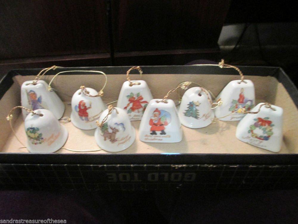 Vintage Nine Ceramic Handpainted Christmas Bells Made in Japan