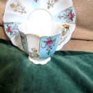Collectible Miniature Cup Saucer Set Occupied Japan Gold Trim Paneled Scalloped