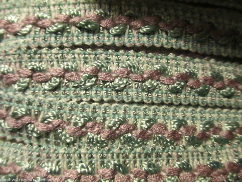 11 yds PLUS Jacquard Trim Mauve Spring Green Craft Pillow Drapery Finish Project