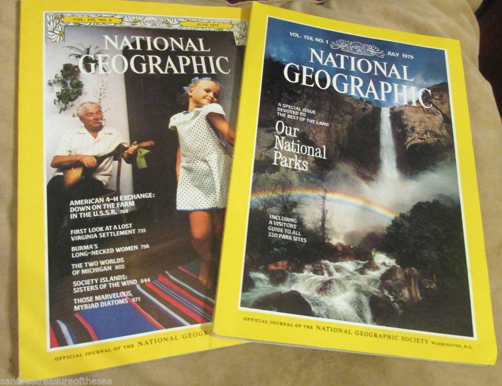Two National Geographic Magazine 1979 Jun Jul American 4 H National Parks Island