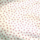 White Cotton Material Tiny Pink Flower Quilting Crafts Home Decor Plus xtra FREE