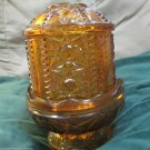 Vintage Indiana Glass Stars and Bars Amber Fairy Courting Lamp Made For Homco