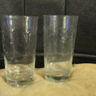 Two Federal Glass Co Arched Floral Leaves Embossed 12 oz Glasses Barware