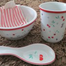 Vintage Rare Japan  Berries Jubilee Design Ceramic Utensil Holder Valentines