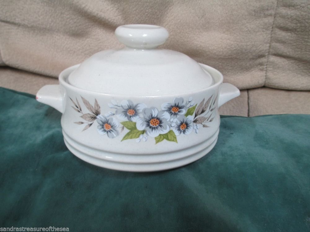 Heavenly Bake n Serve Stoneware Baking Dish Individual Casserole Japan Dogwood