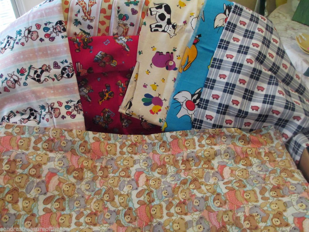 Ten Fabric Pieces Kids Designs For Quilting General Crafts Sewing Four Plus Yds