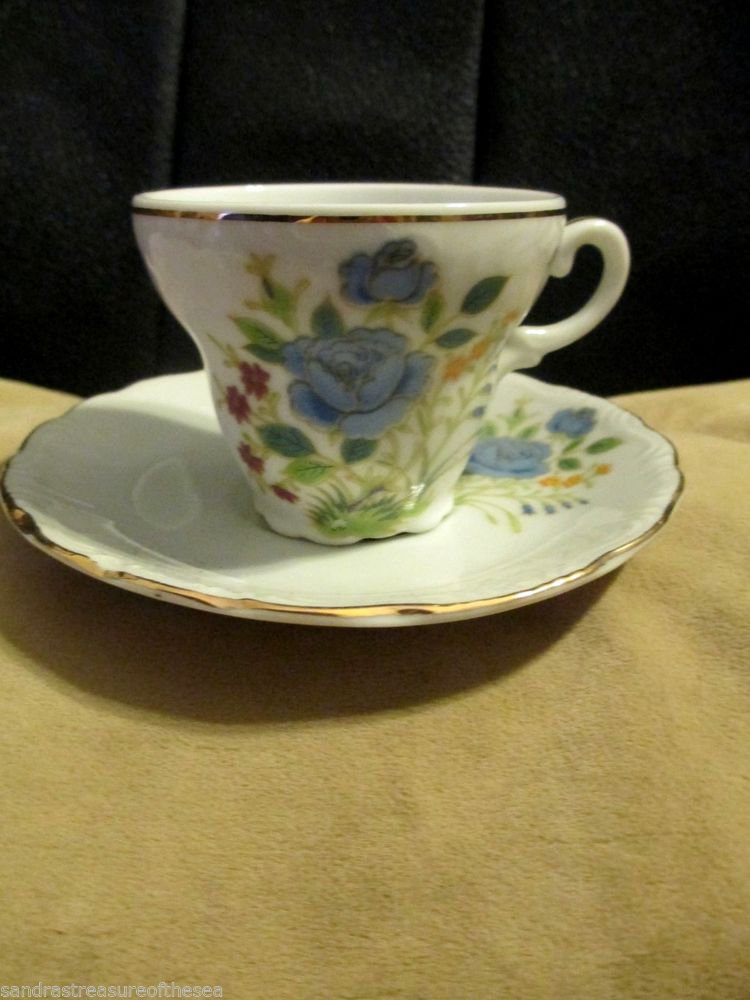 Collectible Gold Trim Mini Tea Cup W Saucer Made Exclusively for Houbigant Japan