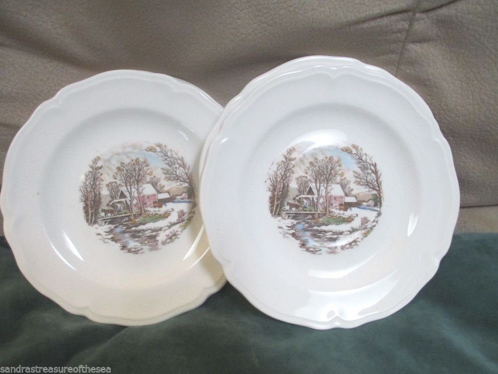 Five Vintage  Bread and Butter Plates Farm In Winter Scene Knowles