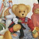 Daisy Kingdom  Blue Jean Teddy Fabric Wall Quilt Panel Bears Bunny Duck Rabbit
