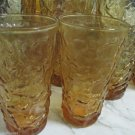 Seven Amber Anchor Hocking 20 oz Milano Crinkle Ice Tea Glasses Plus Two 12 oz
