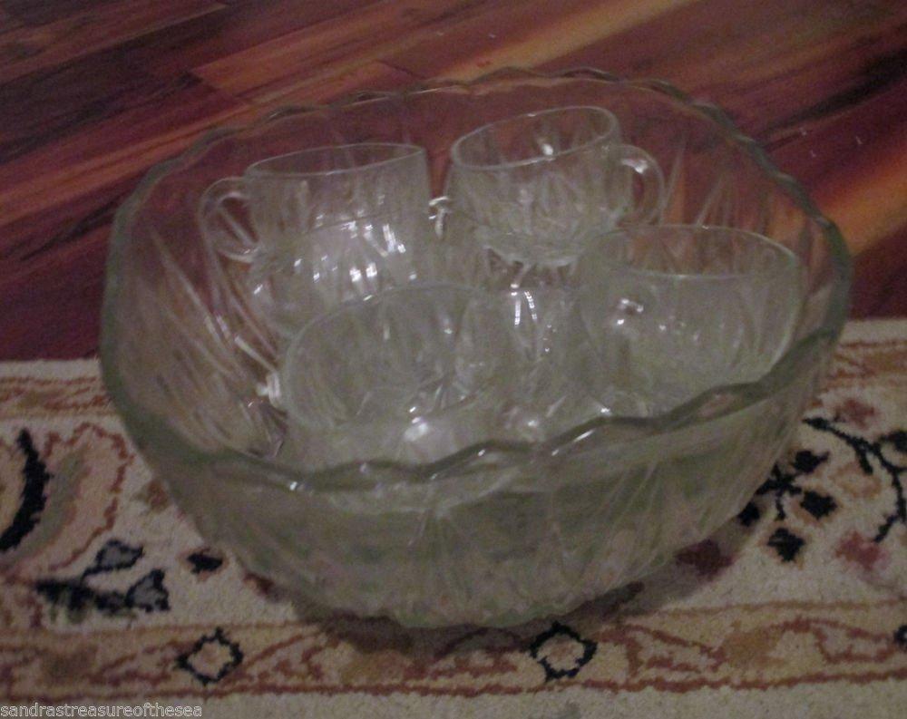 Vintage Hazel Atlas Williamsport Brockway Square Glass Punch Set Bowl Twelve Cup