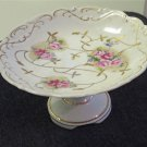 Vintage Arnart Footed Pedestal Petit Four Plate Compote Roses Gold Relief