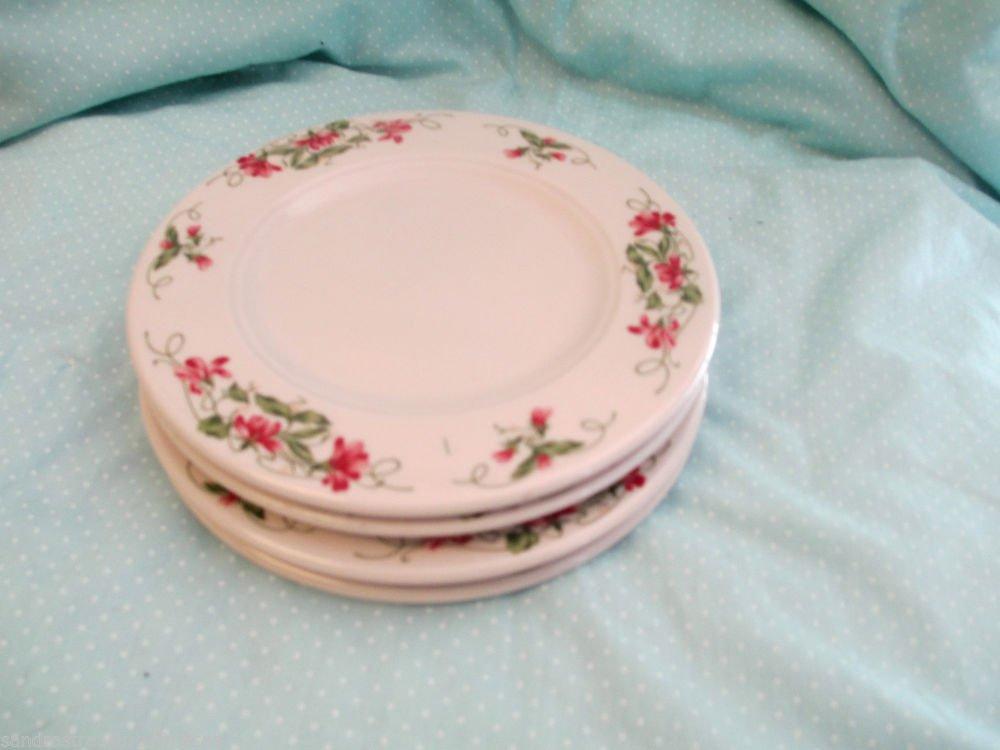 Four Homer Laughlin Seville Pink Violets Restaurant Ware Bread Butter Plates USA