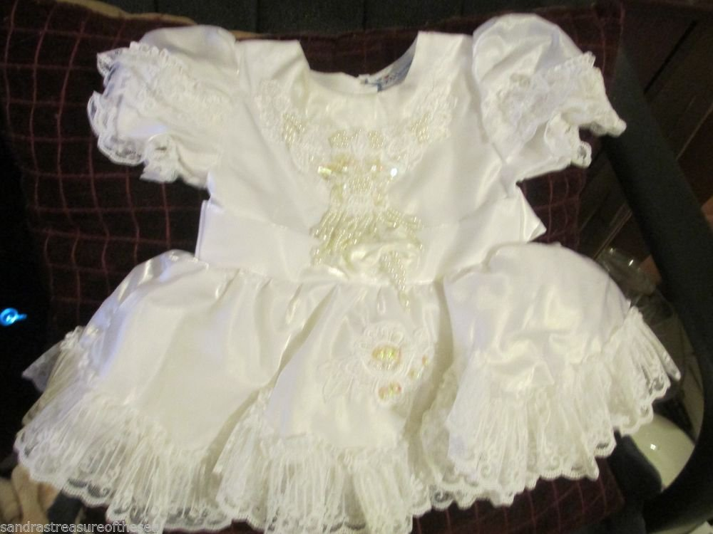 California Boutique Little Brittany USA Christening Dress Beaded Sequins