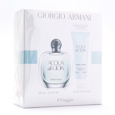 Armani Aqua Di Gioia Edp 100ml 3.4oz + Lotion 75ml Set New In Box 100% Original
