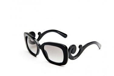Prada Sunglasses PR 27OS 1AB3M1 Square with Ornate Arms, Black 100% Original