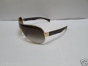 Ray Ban Sunglasses Shield 3471 001/13 Shiny Gold / Brown Gradient New 100% Original