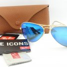 Ray Ban Sunglasses 3025 112/17 Matte Gold / Flash Blue Mirror 100% New & Original