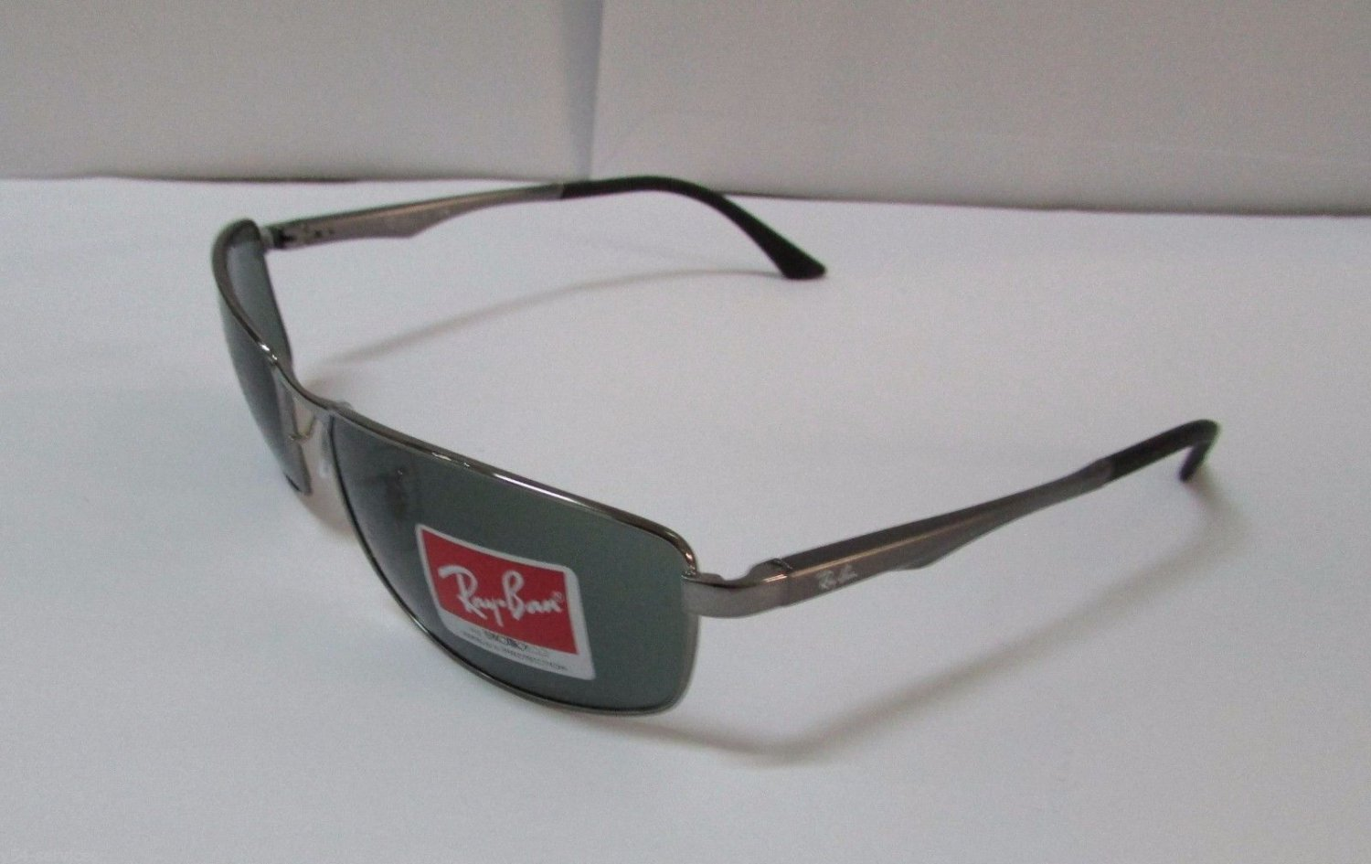 Ray-Ban Sunglasses Gunmetal 3498 004/71 Frame Green Men NEW & 100% Original