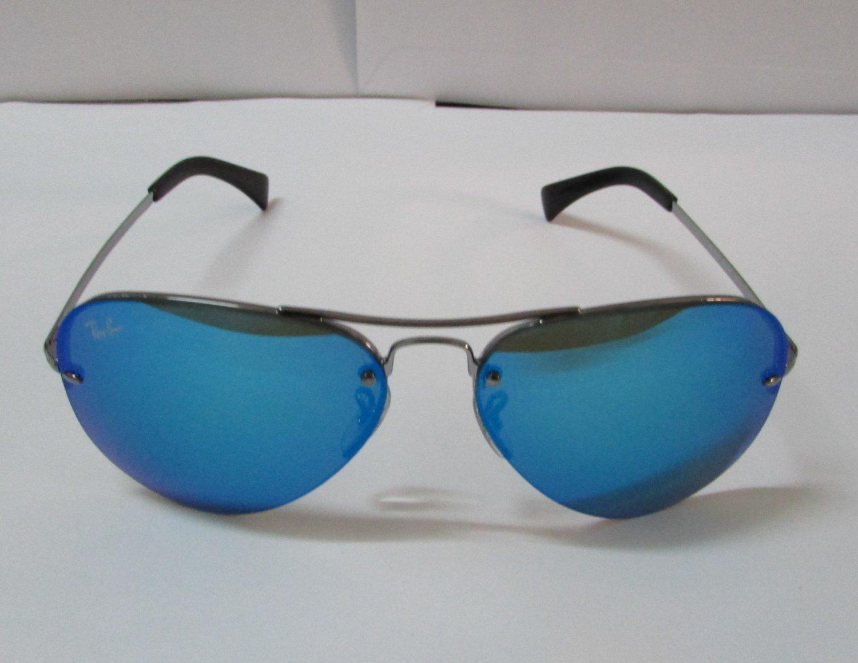 Ray-Ban Sunglasses 3449 004/55 59-14 Aviator Metal Gunmetal, Blue Mirror Lenses 100% Original