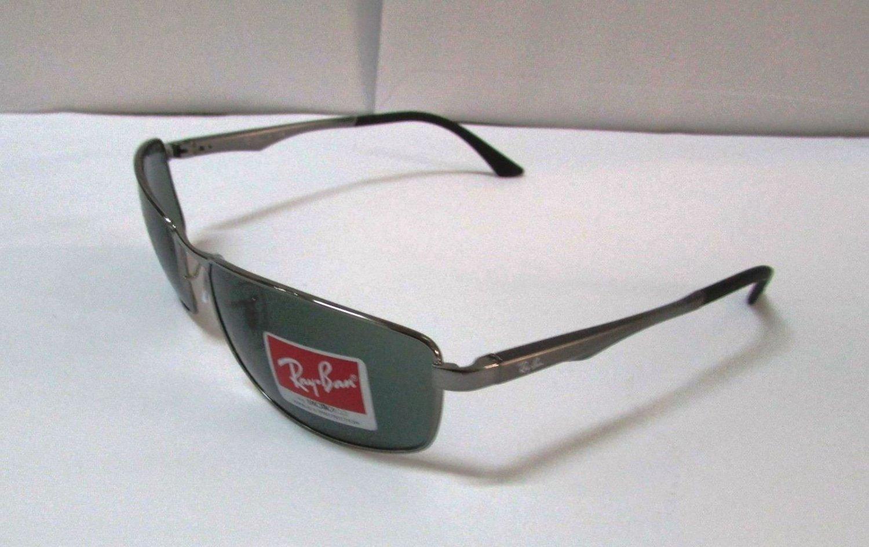 Ray Ban Sunglasses 3498 004/71 Gunmetal/ Green Lens Metal 61mm New 100 %Original