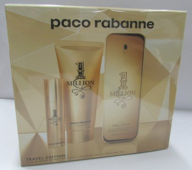 Paco Rabanne 1 MILLION EDT 100ml 3.4oz + Shower 100ml + Travel EDT 10ml NEW SET