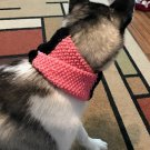 New, Handmade, Knit, Pink and Black Puppy Cowl