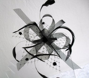Mesh & Feather FASCINATOR Wedding Party Hair Accessory Comb Fitting Black Cream