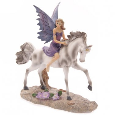 Tales of Avalon AMETHYST RIDER FAIRY Riding Unicorn Figurine by Lisa Parker