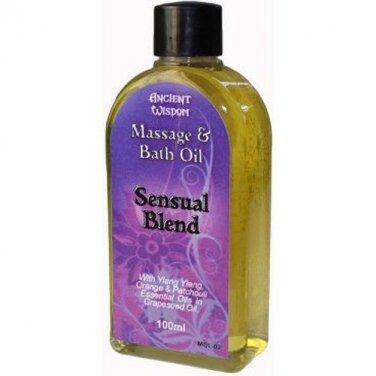100ml Bottle SENSUAL Massage Oil Blend Aromatherapy Sensuous Relaxing