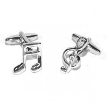 Gents Cufflinks Musical Note and Treble Clef Rhodium Plated Cufflinks