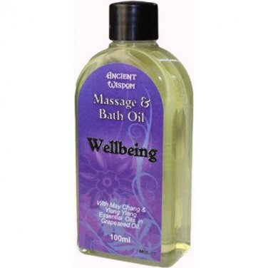 100ml Bottle WELLBEING Massage Oil Aromatherapy May Chang Ylang Ylang Blend