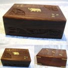 Hand Carved WOOD Jewellery Trinket Bits BOX Elephant Brass Inlay Small Large