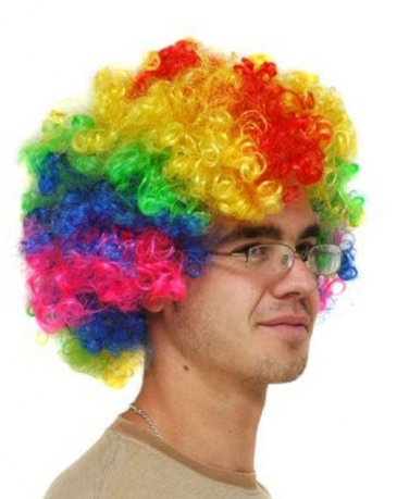 BIG MULTI COLOURED CURLY WIG Fancy Dress Party Hen Stag Do Hair Costume