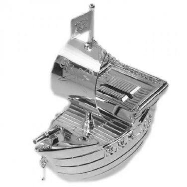 Silver Plated PIRATE SAILING SHIP Money Box Birthday Christening Gift Engravable
