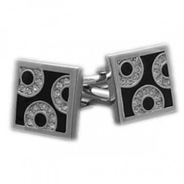 Ladies Cufflinks Square Black with Crystal Circle Crystals Cufflinks