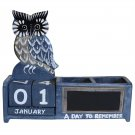 Shabby Chic OWL Wooden Calendar Pen Pot Pen Holder Desk Tidy BLUE