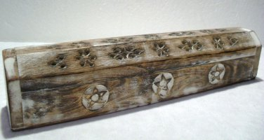 INCENSE BURNER SMOKE BOX Hand Carved Wood Shabby Chic Distressed Effect Box