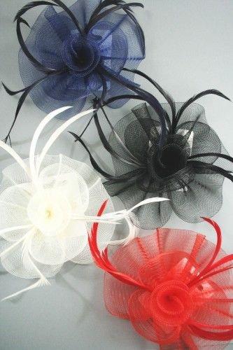 FASCINATOR HAIR CLIP Mesh Swirl & Feather Hair Accessory Clip Corsage Pin