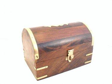 JEWELLERY TRINKET BOX Hand Carved Wood Trinket Momento Make-Up Bits Box