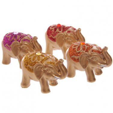 ELEPHANT FIGURE ORNAMENT Mini Metallic Glitter Lucky Elephant Figurine